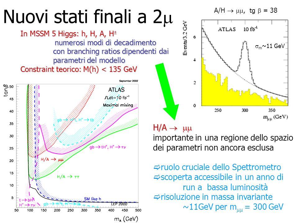 Nuovi stati finali a 2 A/H, tg = 38 m ~11 GeV In MSSM 5 Higgs: h, H, A, H In MSSM 5 Higgs: h, H, A, H numerosi modi di decadimento con branching ratio