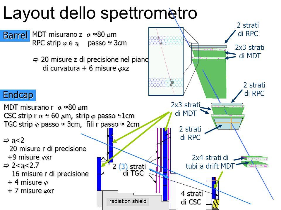 4 strati 4 strati di CSC di CSC radiation shield Layout dello spettrometro 2x4 strati di tubi a drift MDT 2x3 strati di MDT 2x3 strati di MDT 2 strati