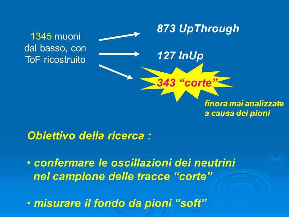 1345 muoni dal basso, con ToF ricostruito Obiettivo della ricerca : confermare le oscillazioni dei neutrini nel campione delle tracce corte misurare il fondo da pioni soft 873 UpThrough 127 InUp 343 corte finora mai analizzate a causa dei pioni