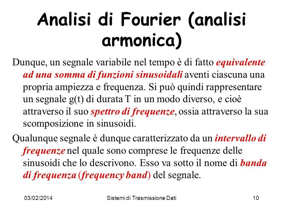 03/02/2014Sistemi di Trasmissione Dati10 Analisi di Fourier (analisi armonica) Dunque, un segnale variabile nel tempo è di fatto equivalente ad una so