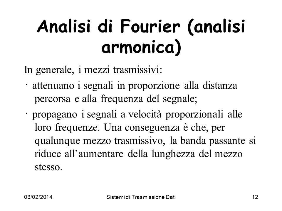 03/02/2014Sistemi di Trasmissione Dati12 Analisi di Fourier (analisi armonica) In generale, i mezzi trasmissivi: attenuano i segnali in proporzione al
