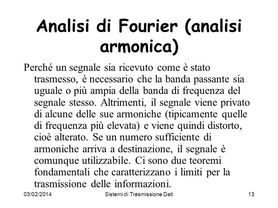 03/02/2014Sistemi di Trasmissione Dati13 Analisi di Fourier (analisi armonica) Perché un segnale sia ricevuto come è stato trasmesso, è necessario che