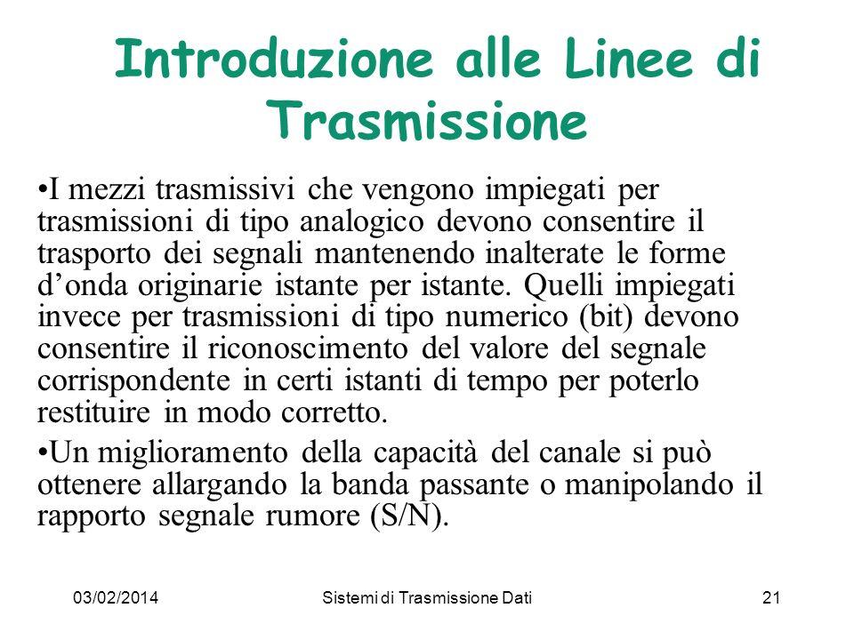 03/02/2014Sistemi di Trasmissione Dati21 I mezzi trasmissivi che vengono impiegati per trasmissioni di tipo analogico devono consentire il trasporto d