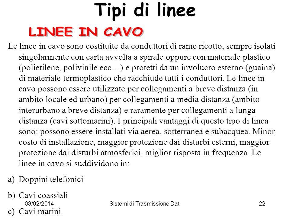 03/02/2014Sistemi di Trasmissione Dati22 Tipi di linee Le linee in cavo sono costituite da conduttori di rame ricotto, sempre isolati singolarmente co