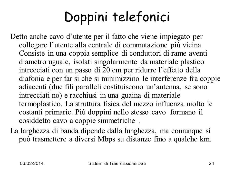 03/02/2014Sistemi di Trasmissione Dati24 Doppini telefonici Detto anche cavo dutente per il fatto che viene impiegato per collegare lutente alla centr