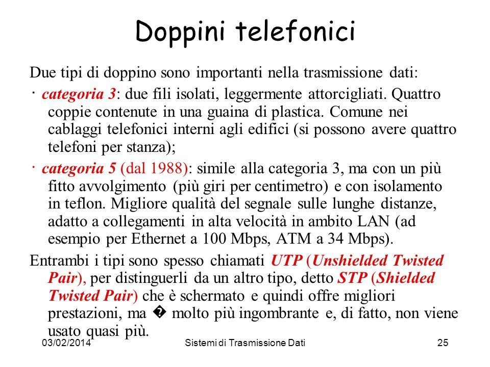 03/02/2014Sistemi di Trasmissione Dati25 Doppini telefonici Due tipi di doppino sono importanti nella trasmissione dati: categoria 3: due fili isolati