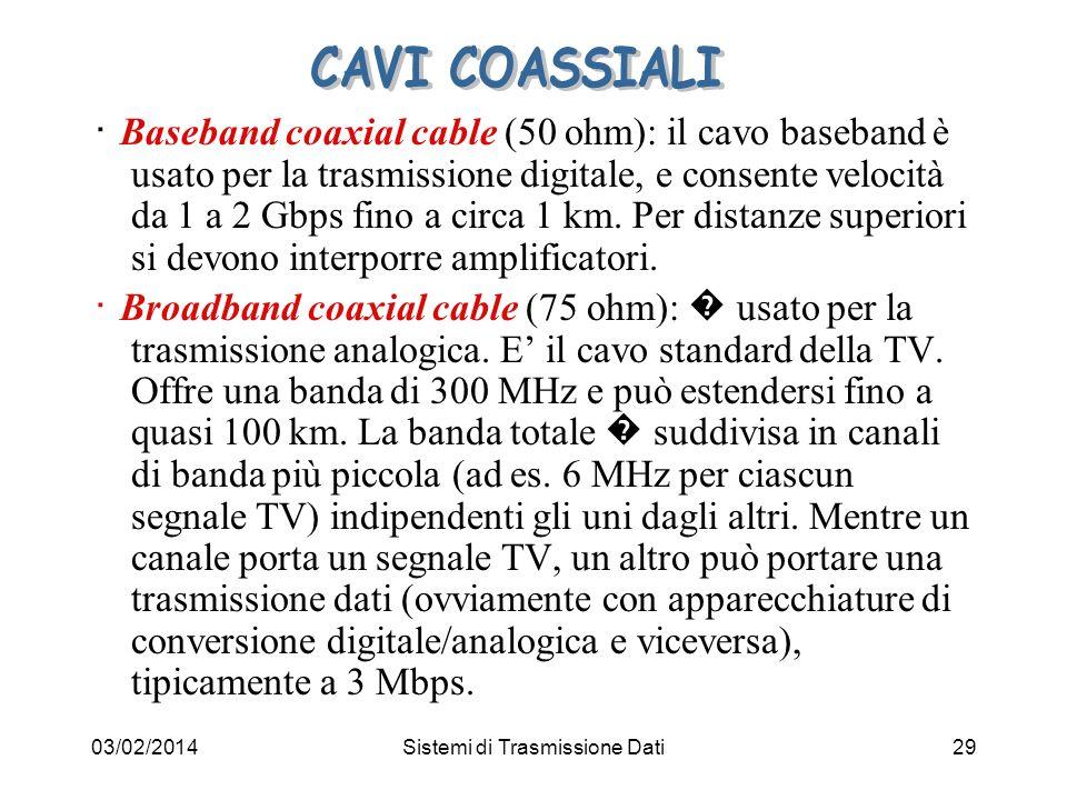 03/02/2014Sistemi di Trasmissione Dati29 Baseband coaxial cable (50 ohm): il cavo baseband è usato per la trasmissione digitale, e consente velocità d