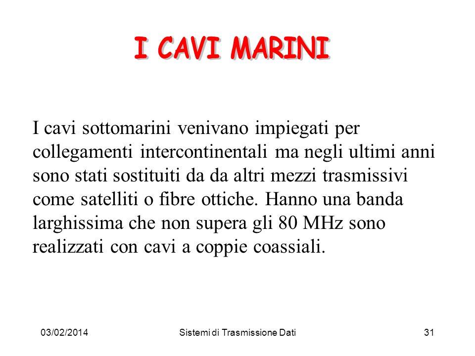 03/02/2014Sistemi di Trasmissione Dati31 I cavi sottomarini venivano impiegati per collegamenti intercontinentali ma negli ultimi anni sono stati sost