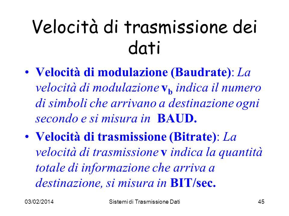03/02/2014Sistemi di Trasmissione Dati45 Velocità di modulazione (Baudrate): La velocità di modulazione v b indica il numero di simboli che arrivano a