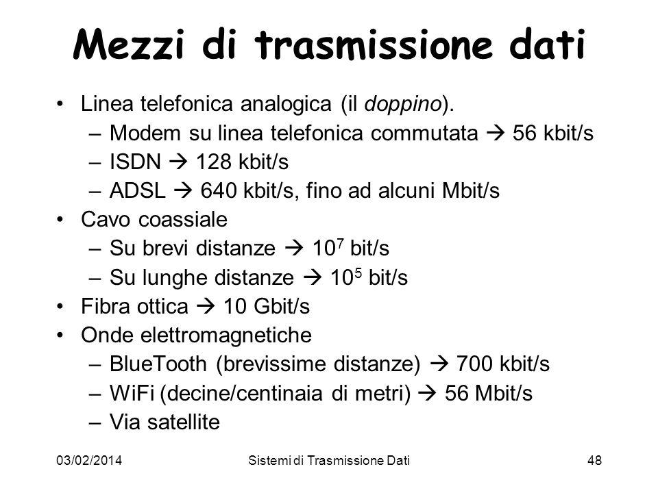 03/02/2014Sistemi di Trasmissione Dati48 Mezzi di trasmissione dati Linea telefonica analogica (il doppino). –Modem su linea telefonica commutata 56 k