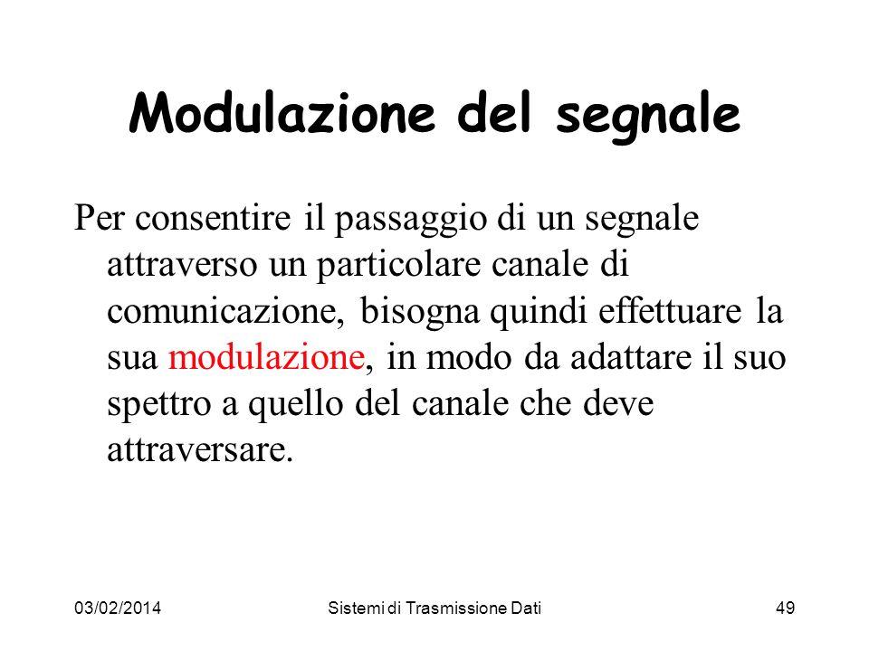 03/02/2014Sistemi di Trasmissione Dati49 Modulazione del segnale Per consentire il passaggio di un segnale attraverso un particolare canale di comunic