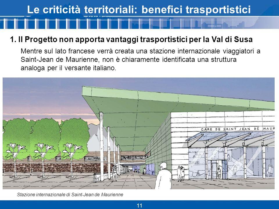11 Le criticità territoriali: benefici trasportistici 1.