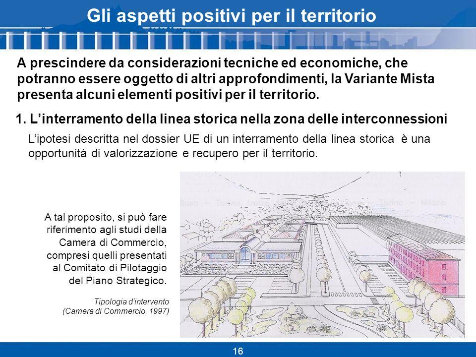 16 Gli aspetti positivi per il territorio Lipotesi descritta nel dossier UE di un interramento della linea storica è una opportunità di valorizzazione e recupero per il territorio.