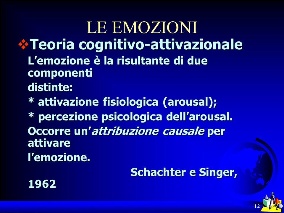 12 LE EMOZIONI Teoria cognitivo-attivazionale Teoria cognitivo-attivazionale Lemozione è la risultante di due componenti distinte: * attivazione fisio