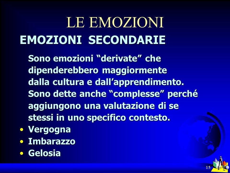 15 LE EMOZIONI EMOZIONI SECONDARIE Sono emozioni derivate che dipenderebbero maggiormente dalla cultura e dallapprendimento. Sono dette anche compless