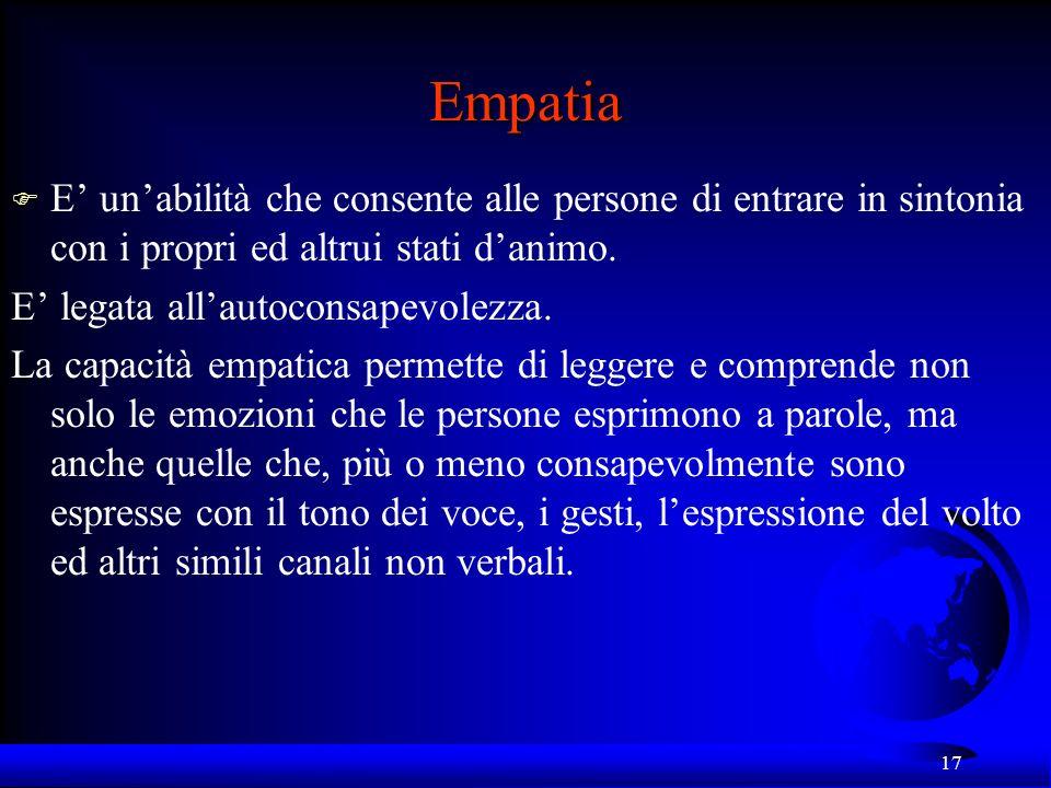 17 Empatia F E unabilità che consente alle persone di entrare in sintonia con i propri ed altrui stati danimo. E legata allautoconsapevolezza. La capa