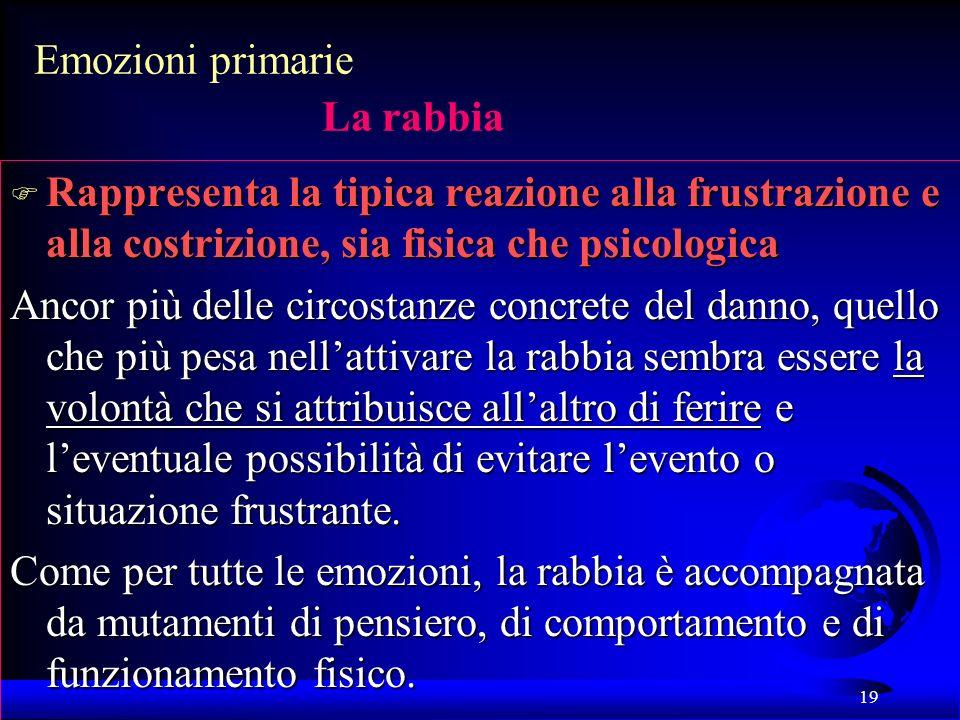 19 Emozioni primarie La rabbia F Rappresenta la tipica reazione alla frustrazione e alla costrizione, sia fisica che psicologica Ancor più delle circo