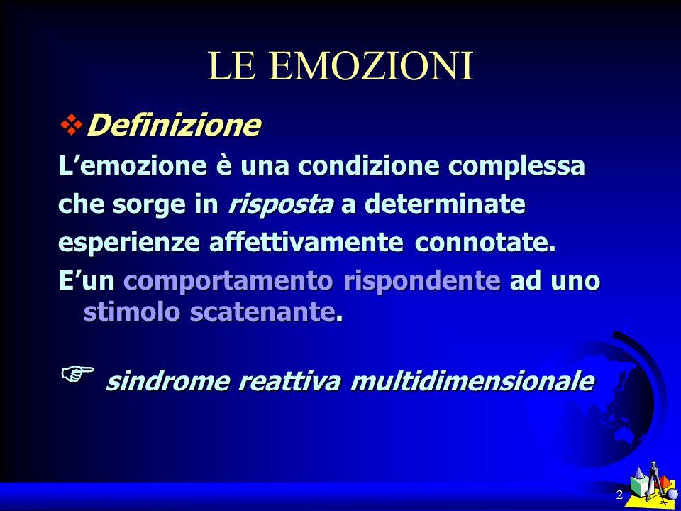 2 LE EMOZIONI Definizione Definizione Lemozione è una condizione complessa che sorge in risposta a determinate esperienze affettivamente connotate. Eu