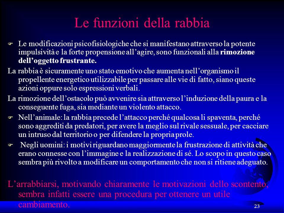 23 Le funzioni della rabbia F Le modificazioni psicofisiologiche che si manifestano attraverso la potente impulsività e la forte propensione allagire,