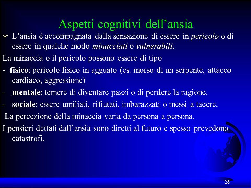 28 Aspetti cognitivi dellansia pericolo minacciativulnerabili F Lansia è accompagnata dalla sensazione di essere in pericolo o di essere in qualche mo