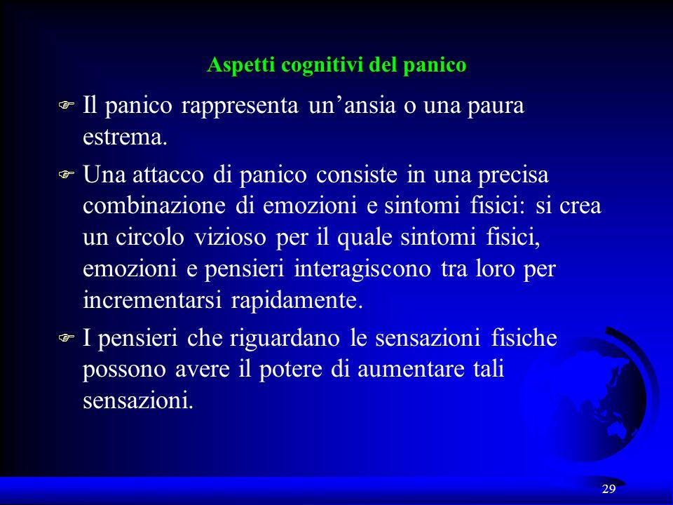 29 Aspetti cognitivi del panico F Il panico rappresenta unansia o una paura estrema. F Una attacco di panico consiste in una precisa combinazione di e