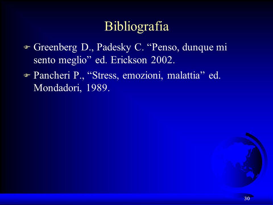 30 Bibliografia F Greenberg D., Padesky C. Penso, dunque mi sento meglio ed. Erickson 2002. F Pancheri P., Stress, emozioni, malattia ed. Mondadori, 1