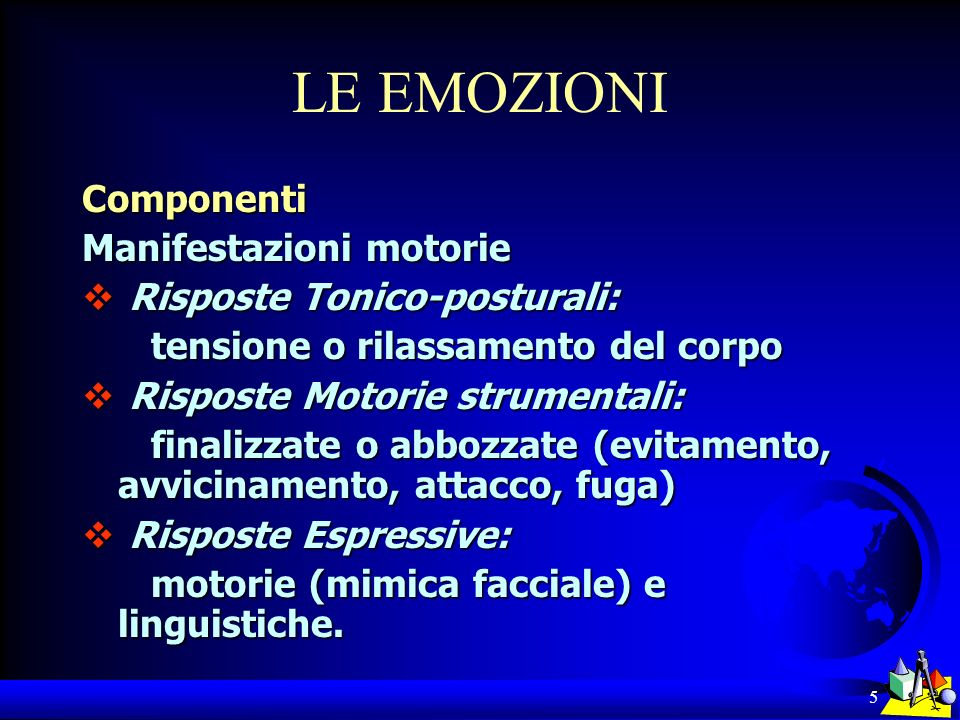 16 LE EMOZIONI Funzioni delle emozioni Funzioni delle emozioni Azione;Azione; Segnalazione intra-soggettiva;Segnalazione intra-soggettiva; Comunicazione inter-soggettiva;Comunicazione inter-soggettiva; Motivazione ad agire;Motivazione ad agire; Adattamento.Adattamento.