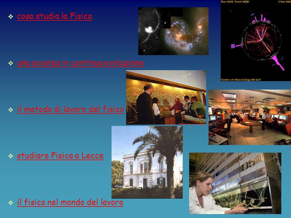 cosa studia la Fisica una scienza in continua evoluzione il metodo di lavoro del fisico studiare Fisica a Lecce il fisico nel mondo del lavoro
