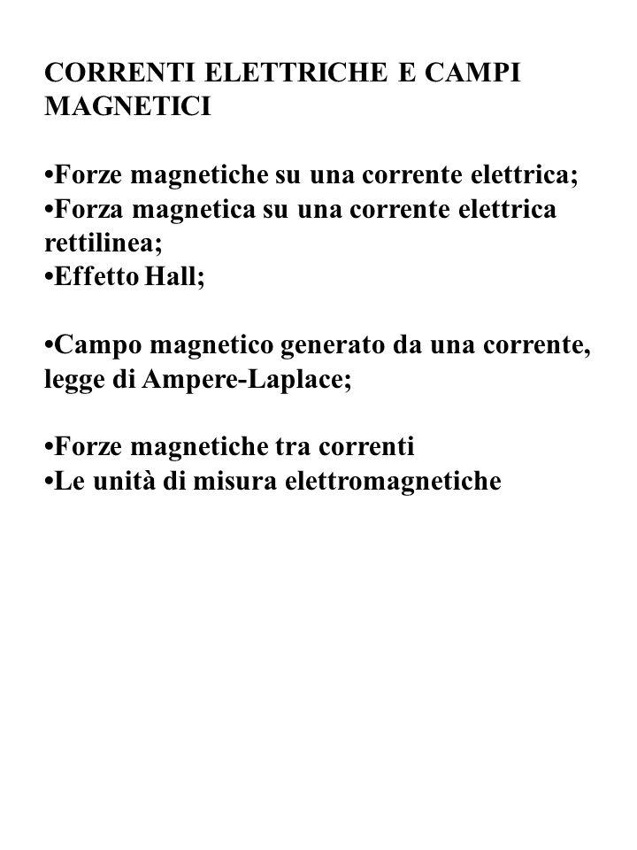 CORRENTI ELETTRICHE E CAMPI MAGNETICI Forze magnetiche su una corrente elettrica; Forza magnetica su una corrente elettrica rettilinea; Effetto Hall; Campo magnetico generato da una corrente, legge di Ampere-Laplace; Forze magnetiche tra correnti Le unità di misura elettromagnetiche