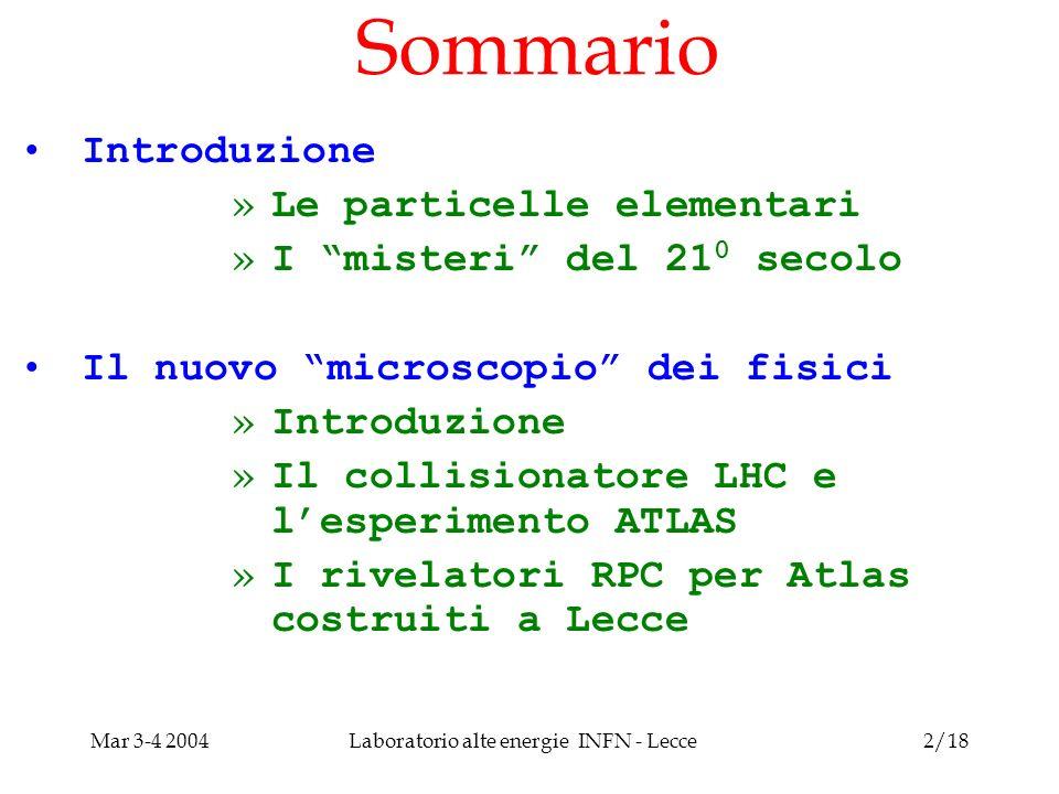 Mar 3-4 2004Laboratorio alte energie INFN - Lecce3/18 Introduzione Le particelle elementari .