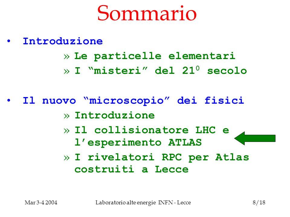 Mar 3-4 2004Laboratorio alte energie INFN - Lecce8/18 Sommario Introduzione »Le particelle elementari »I misteri del 21 0 secolo Il nuovo microscopio dei fisici »Introduzione »Il collisionatore LHC e lesperimento ATLAS »I rivelatori RPC per Atlas costruiti a Lecce