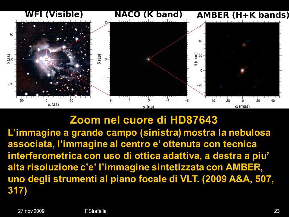 27 nov 2009F.Strafella23 Zoom nel cuore di HD87643 Limmagine a grande campo (sinistra) mostra la nebulosa associata, limmagine al centro e ottenuta con tecnica interferometrica con uso di ottica adattiva, a destra a piu alta risoluzione ce limmagine sintetizzata con AMBER, uno degli strumenti al piano focale di VLT.