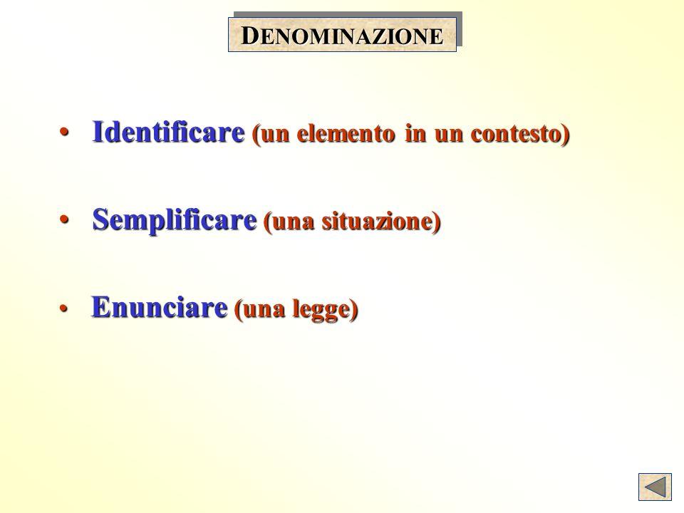 D ENOMINAZIONE Identificare (un elemento in un contesto) Identificare (un elemento in un contesto) Semplificare (una situazione) Semplificare (una situazione) Enunciare (una legge) Enunciare (una legge)