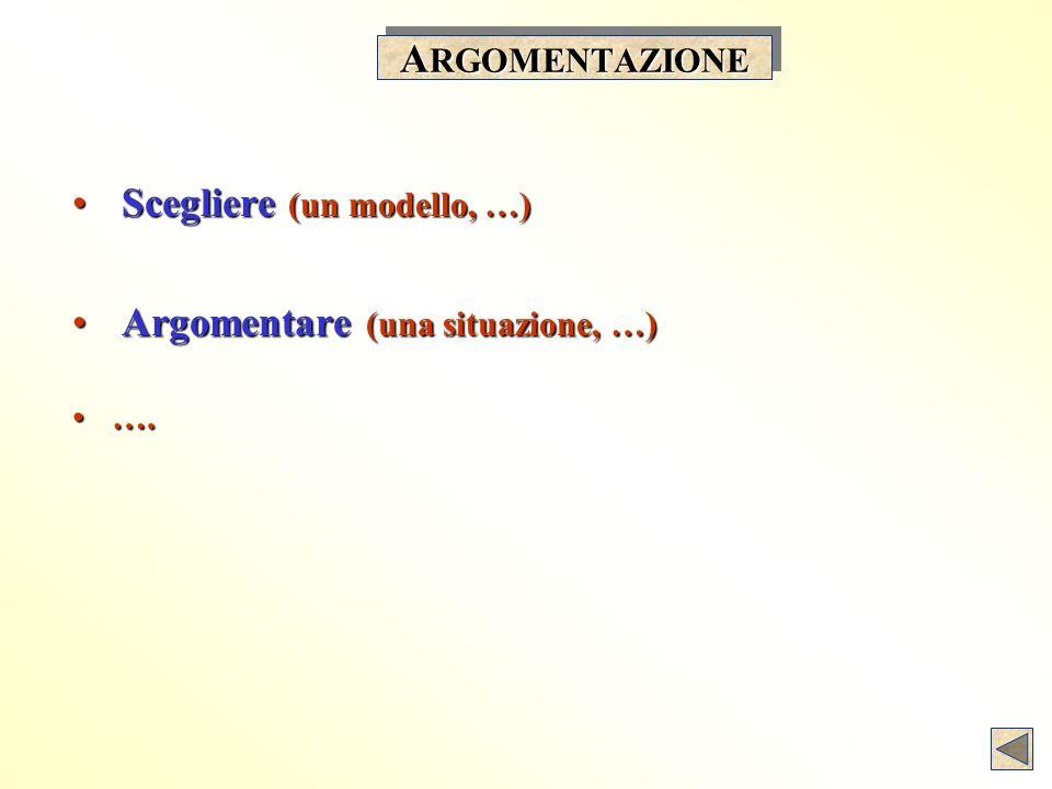 A RGOMENTAZIONE Scegliere (un modello, …) Scegliere (un modello, …) Argomentare (una situazione, …) Argomentare (una situazione, …) ….….