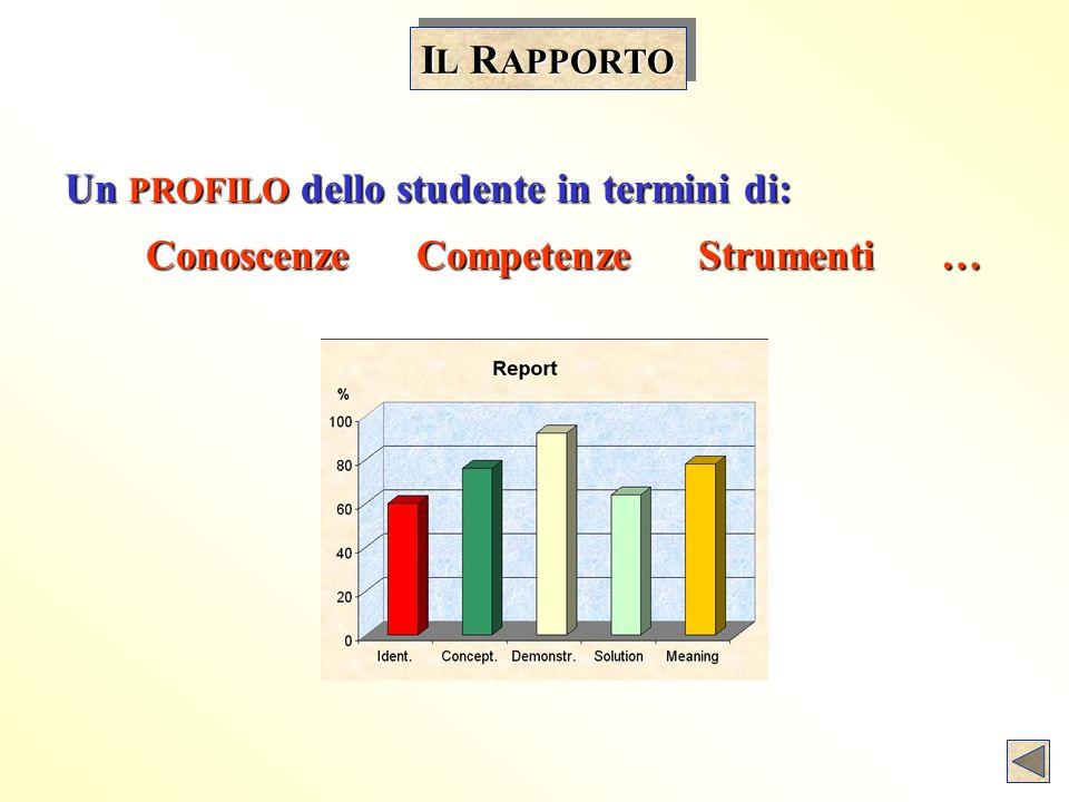 Un PROFILO dello studente in termini di: Conoscenze Competenze Strumenti … Conoscenze Competenze Strumenti … I L R APPORTO