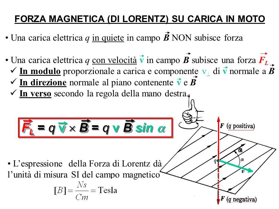 v0 v0 (m, q) Esempio: Carica con velocità v 0 B GIRAZIONE DI UNA CARICA IN UN CAMPO MAGNETICO F L alla traiettoria ds di spostamento della carica: dL= F L ds = 0 F L è una forza centripeta F L alla velocità v NON compie lavoro L su particelle cariche NON varia lenergia cinetica mv 2 /2 delle particelle NON cambia v 2 (= il modulo della v, ma solo la sua direzione) v |v 0 | = |v|