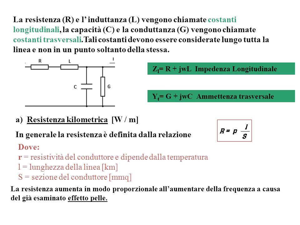 a)Resistenza kilometrica [W / m] In generale la resistenza è definita dalla relazione La resistenza (R) e l induttanza (L) vengono chiamate costanti l