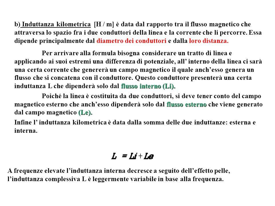 b) Induttanza kilometrica [H / m] è data dal rapporto tra il flusso magnetico che attraversa lo spazio fra i due conduttori della linea e la corrente