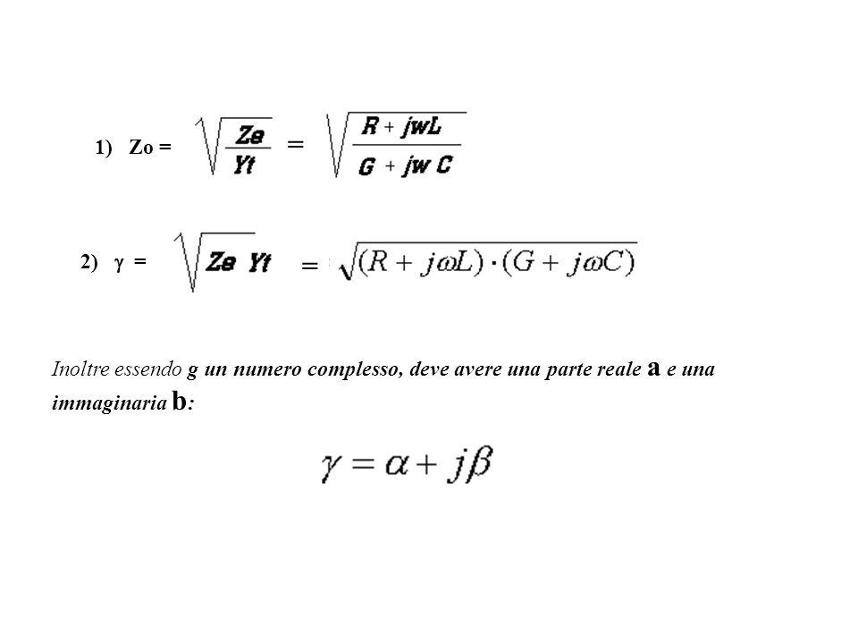 1) Zo = = 2) = = Inoltre essendo g un numero complesso, deve avere una parte reale a e una immaginaria b :