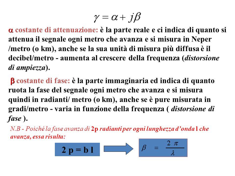 costante di attenuazione: è la parte reale e ci indica di quanto si attenua il segnale ogni metro che avanza e si misura in Neper /metro (o km), anche