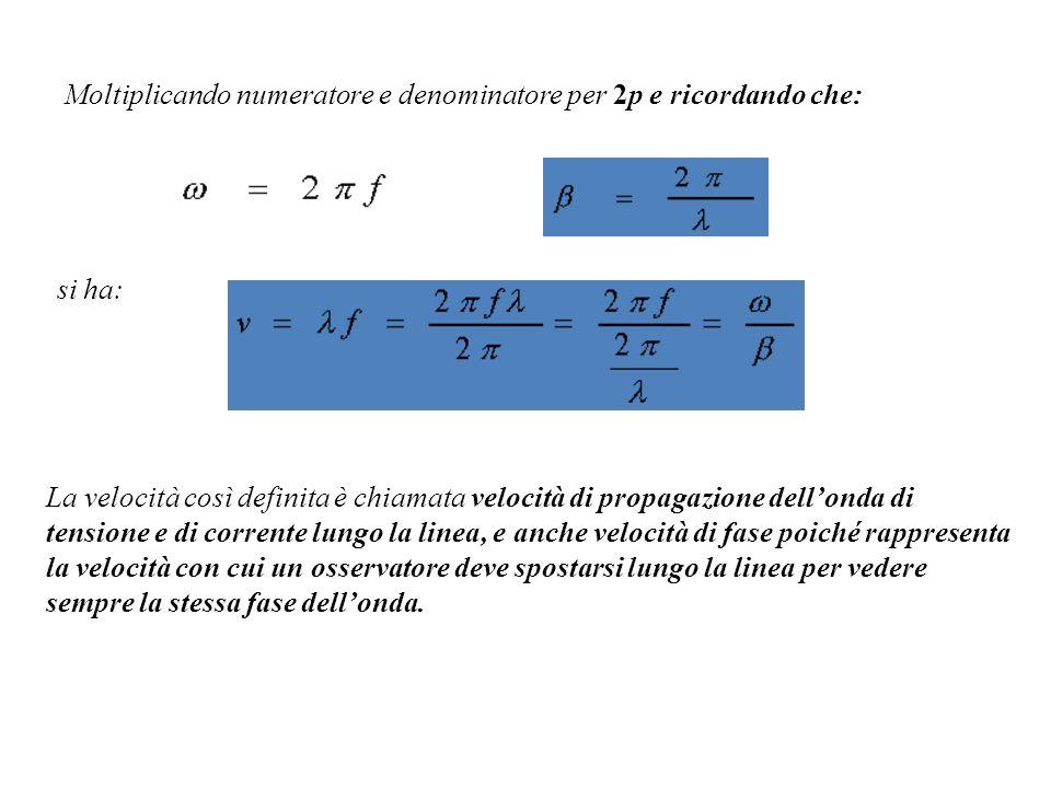 Moltiplicando numeratore e denominatore per 2p e ricordando che: si ha: La velocità così definita è chiamata velocità di propagazione dellonda di tens