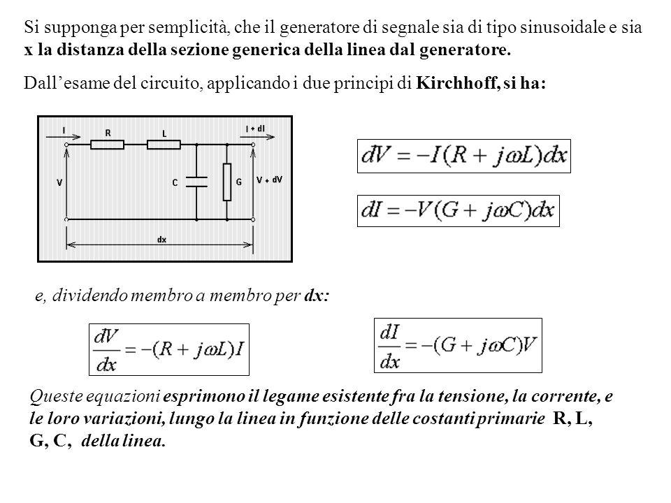 Si supponga per semplicità, che il generatore di segnale sia di tipo sinusoidale e sia x la distanza della sezione generica della linea dal generatore