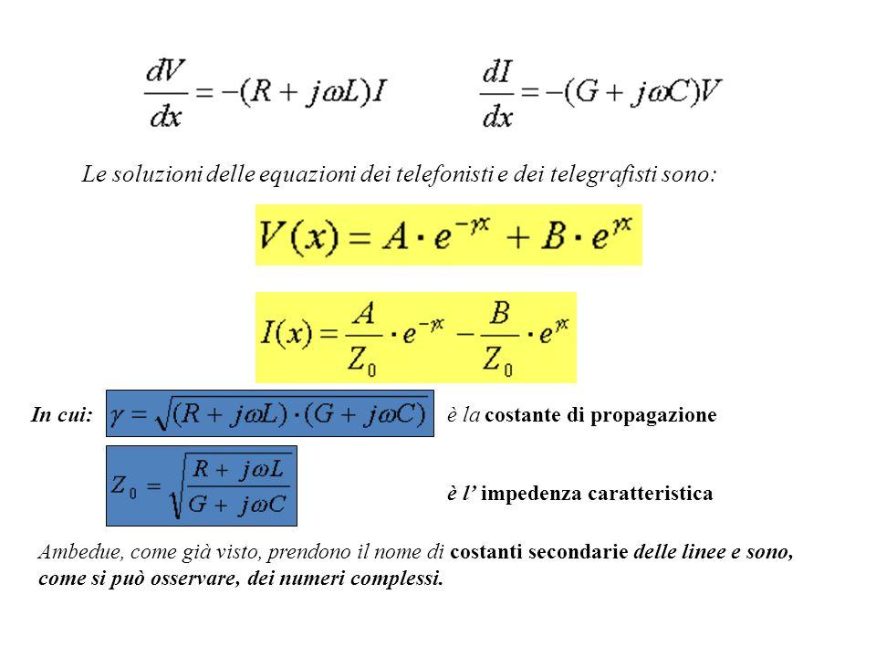 Le soluzioni delle equazioni dei telefonisti e dei telegrafisti sono: In cui: è la costante di propagazione Ambedue, come già visto, prendono il nome