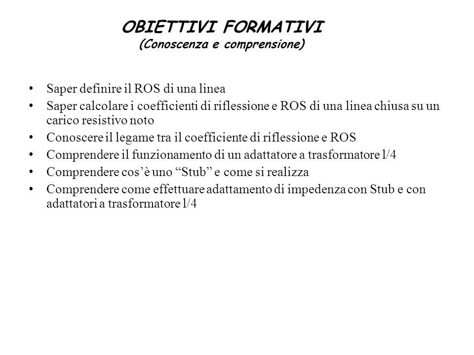 Saper definire il ROS di una linea Saper calcolare i coefficienti di riflessione e ROS di una linea chiusa su un carico resistivo noto Conoscere il le