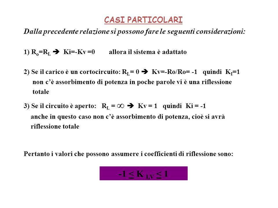 CASI PARTICOLARI Dalla precedente relazione si possono fare le seguenti considerazioni: 1) R o =R L Ki=-Kv =0 allora il sistema è adattato 2) Se il ca