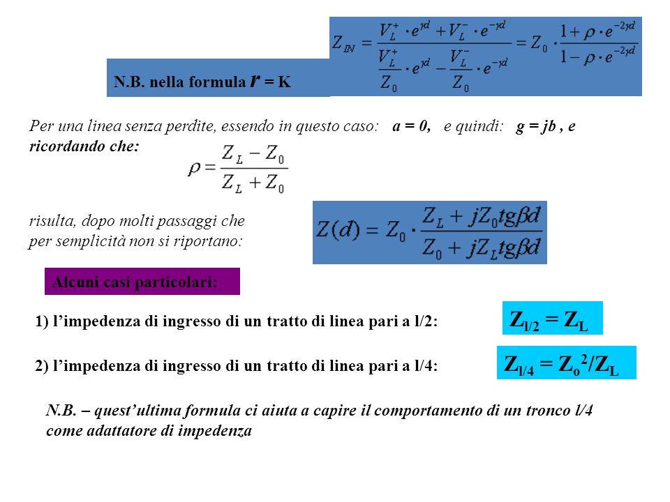 Per una linea senza perdite, essendo in questo caso: a = 0, e quindi: g = jb, e ricordando che: N.B. nella formula r = K risulta, dopo molti passaggi