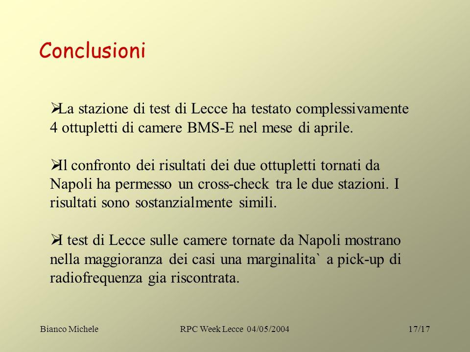 Bianco MicheleRPC Week Lecce 04/05/200417/17 Conclusioni La stazione di test di Lecce ha testato complessivamente 4 ottupletti di camere BMS-E nel mes