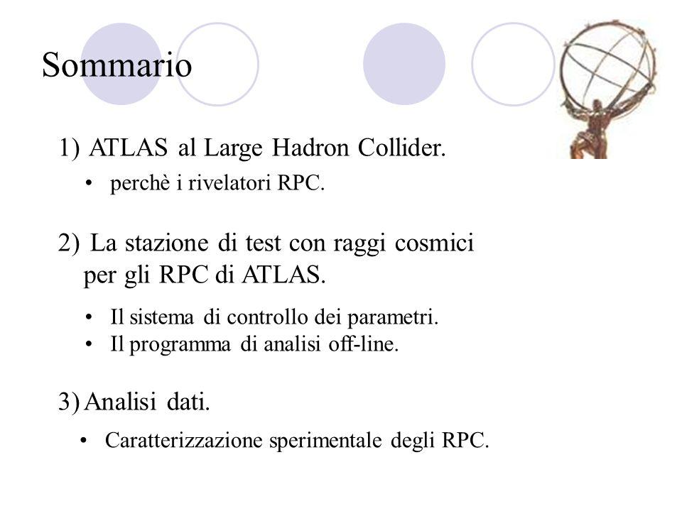 Sommario 1) ATLAS al Large Hadron Collider. 2) La stazione di test con raggi cosmici per gli RPC di ATLAS. 3)Analisi dati. perchè i rivelatori RPC. Il