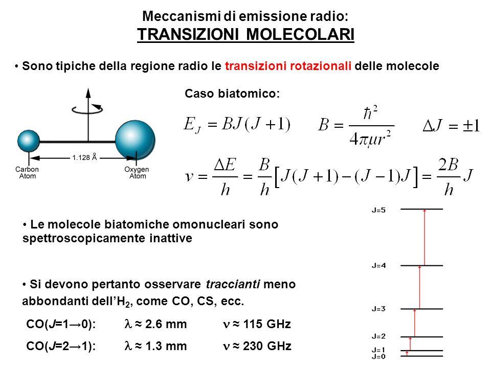 Meccanismi di emissione radio: TRANSIZIONI MOLECOLARI Sono tipiche della regione radio le transizioni rotazionali delle molecole Le molecole biatomich