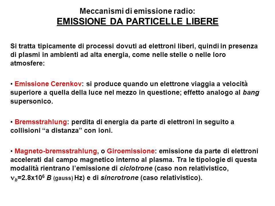 Meccanismi di emissione radio: EMISSIONE DA PARTICELLE LIBERE Si tratta tipicamente di processi dovuti ad elettroni liberi, quindi in presenza di plas
